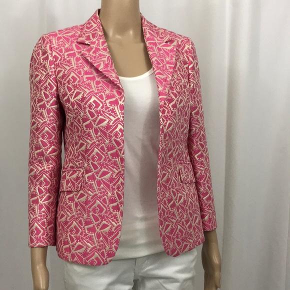 Marni Jackets & Coats | Marni Pink Silver 34 Sleeve Brocade Jacket |  Poshmark